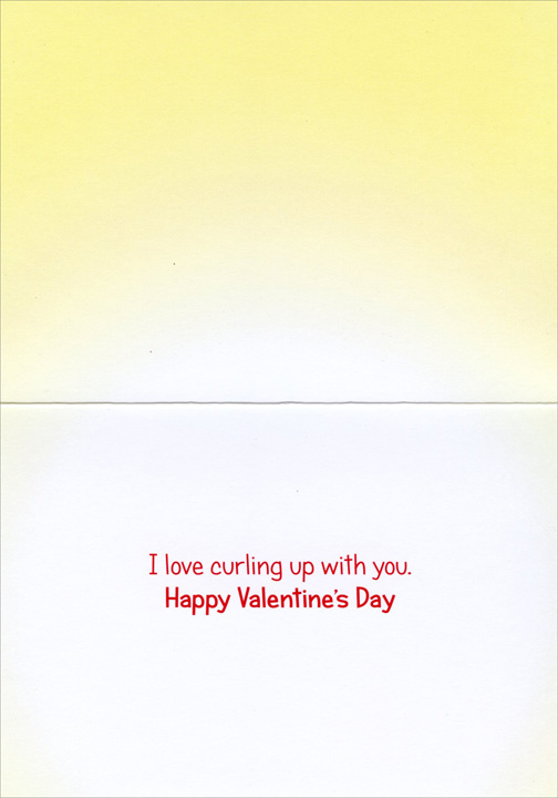 2 Cats Hugging (1 card/1 envelope) Avanti Valentine's Day Card  INSIDE: I love curling up with you. Happy Valentine's Day
