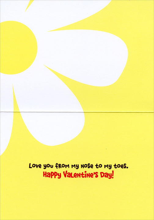 Bear Smells Flower (1 card/1 envelope) Avanti Funny Valentine's Day Card  INSIDE: Love you from my nose to my toes. Happy Valentine's Day!