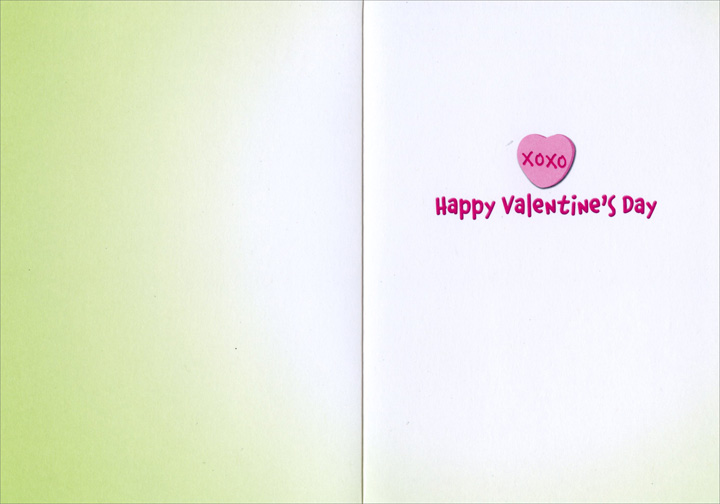 Chameleon Heart (1 card/1 envelope) Avanti Funny Valentine's Day Card - FRONT: LUV U  INSIDE: XOXO Happy Valentine's Day