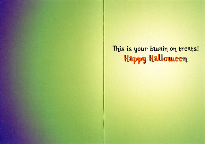 Chameleon Halloween (1 card/1 envelope) - Halloween Card  INSIDE: This is your bwain on treats! Happy Halloween