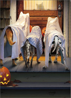 3 Dogs Trick Or Treating (1 card/1 envelope) - Halloween Card  INSIDE: Trick or Treat!  Happy Halloween