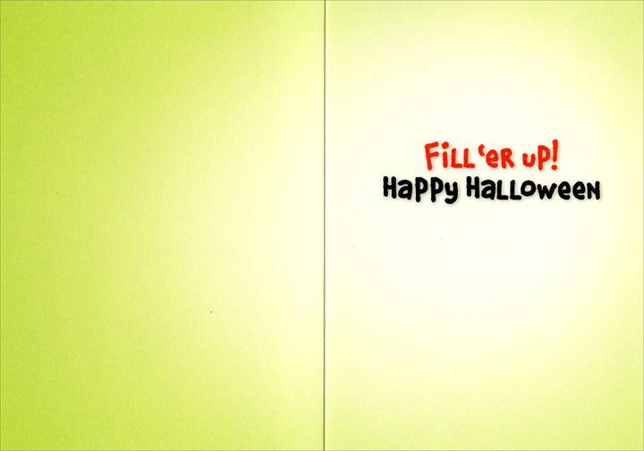 Gecko Skeleton (1 card/1 envelope) Avanti Funny Halloween Card  INSIDE: Fill 'er up! Happy Halloween