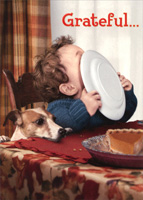 Toddler Licking Dinner Plate (1 card/1 envelope) Avanti Funny Thanksgiving Card