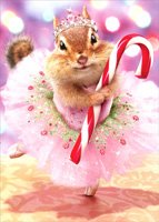 Chipmunk Plum Fairy (1 card/1 envelope) Avanti Premium Christmas Card
