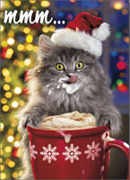Hot Chocolate Kitty (1 card/1 envelope) - Christmas Card - FRONT: mmm�  INSIDE: May your holidays be warm and wonderful! Merry Christmas