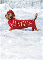Jingle Dog (1 card/1 envelope) - Christmas Card - FRONT: JINGLE  INSIDE: Make a joyful noise! Happy Holidays