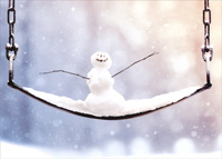 Little Snowman On Swing (1 card/1 envelope) Avanti Christmas Card