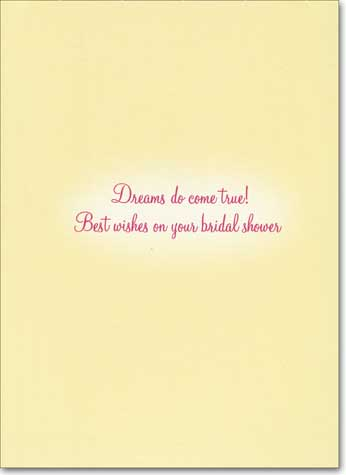 Girl Looks At Wedding Cake (1 card/1 envelope) Avanti Bridal Shower Card - FRONT: No text  INSIDE: Dreams do come true!  Best wishes on your bridal shower