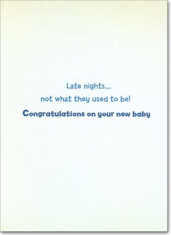 Baby Bottle Fridge (1 card/1 envelope) Avanti Funny New Baby Card - FRONT: No text  INSIDE: Late nights .. not what they used to be! Congratulations on your new baby