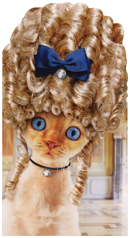 Cat In Old Fashioned Wig Oversized Funny Birthday Card Greeting Card