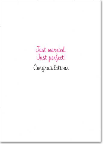 Dancing Couple Cake-Toppers (1 card/1 envelope) Avanti A*Press Glitter Wedding Card - FRONT: No text  INSIDE: Just Married. Just Perfect! Congratulations