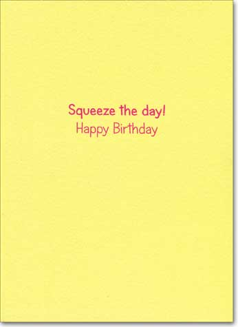 Lemons (1 card/1 envelope) Avanti A*Press Glitter Birthday Card - FRONT: squeeze  INSIDE: Squeeze the day! Happy Birthday