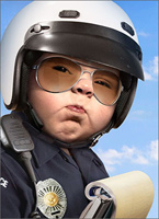 Baby Officer (1 card/1 envelope) - Birthday Card  INSIDE: You have the right to remain in denial! Happy Birthday