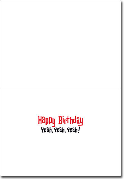 British Owl Band Lenticular (1 card/1 envelope) - Birthday Card  INSIDE: Happy Birthday Yeah, Yeah, Yeah!