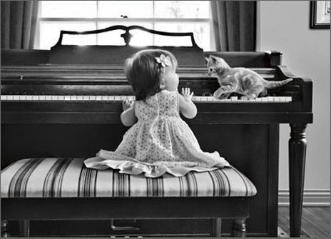 Little Girl Plays Piano (1 card/1 envelope) Avanti Cat Friendship Card  INSIDE: Nobody listens like you do!