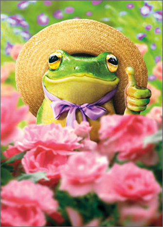 Gardener Frog (1 card/1 envelope) - Thank You Card  INSIDE: Everything you touch turns to wonderful! Thanks