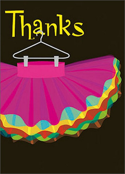 Pink Tutu (1 card/1 envelope) - Thank You Card - FRONT: Thanks  INSIDE: �you're tutu much!