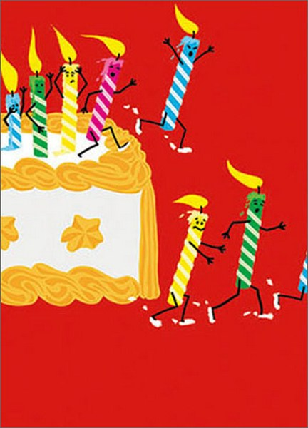 Running Birthday Candles (1 card/1 envelope) Avanti A*Press Glitter Birthday Card  INSIDE: You're officially a fire hazard! Happy Birthday