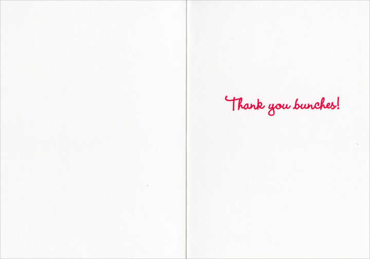 Orangutan Gives Flowers (1 card/1 envelope) Avanti Thank You Card  INSIDE: Thank you bunches!