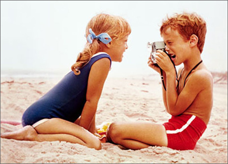 Little Boy Taking Picture On Beach (1 card/1 envelope) Avanti Romantic Card  INSIDE: We just CLICK!