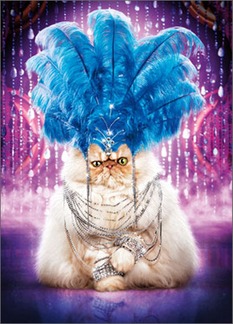 Showgirl Cat (1 card/1 envelope) Avanti Stand Out Pop Up Birthday Card  INSIDE: WOW You always find the right balance between too much� and way too much! Happy Birthday