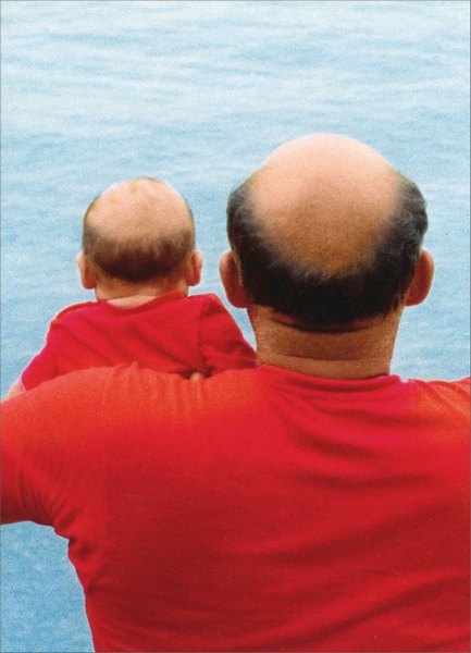 Bald Man/Baby in Red Shirts (1 card/1 envelope) Funny Father's Day Card - FRONT: No text  INSIDE: Thanks for everything!  Happy Father's Day