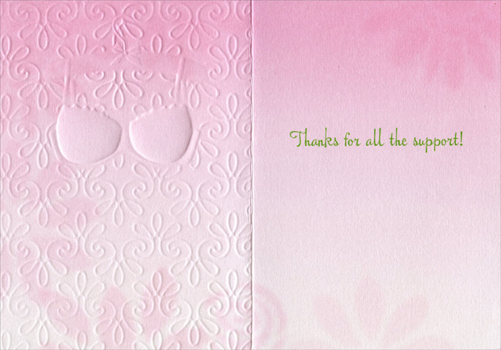 Bra On Hanger (1 card/1 envelope) Avanti A*Press Thank You Card  INSIDE: Thanks for all the support!