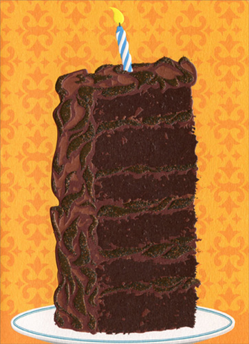 Tall Slice Of Cake (1 card/1 envelope) Avanti A*Press Birthday Card  INSIDE: More cake. Less candles! Happy Birthday
