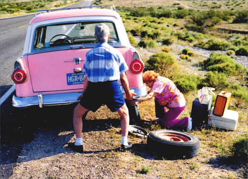 Old Couple Changing Tire (1 card/1 envelope) Avanti Funny Anniversary Card  INSIDE: Another year… another adventure! Happy Anniversary
