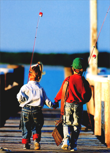 Boy & Girl Fishing (1 card/1 envelope) Avanti Anniversary Card  INSIDE: Best catch ever! Happy Anniversary