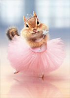 Chipmunk Ballerina (1 card/1 envelope) - Birthday Card  INSIDE: Happy Birthday tutu you-you!