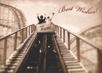 Just Married Roller Coaster (1 card/1 envelope) - Wedding Card - FRONT: Best Wishes!  INSIDE: Congratulations on the adventure of a lifetime!