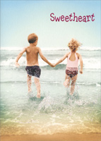 Kid Couple On Beach (1 card/1 envelope) - Romance Card - FRONT: Sweetheart  INSIDE: You make my heart skip!