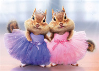Chipmunk Ballerina Duo (1 card/1 envelope) Avanti Funny Thank You Card