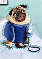 Blood Pressure Pug Sticker Card (1 card/1 envelope) - Just For Fun Card  INSIDE: Somebody needs a vacation!