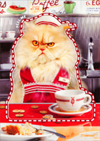 Waitress Cat Sticker Card (1 card/1 envelope) Avanti Peel and Stick Cat Just For Fun Card