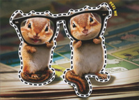Chipmunks With Thick Glasses Sticker Card (1 card/1 envelope) Avanti Peel and Stick Birthday Card
