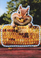 Chipmunk Corn Teeth Sticker Card (1 card/1 envelope) - Friendship Card  INSIDE: You make me thmile!