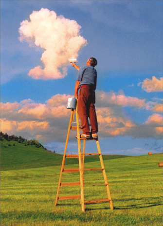 Man on Ladder Painting the Clouds (1 card/1 envelope) - Father's Day Card - FRONT: No text  INSIDE: There's nothing you can't do!  Happy Father's Day