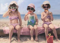Three Girls Eating Popsicles (1 card/1 envelope) Avanti Funny Birthday Card