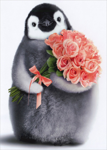 Penguin With Flower Bouquet Birthday Card Greeting Card By