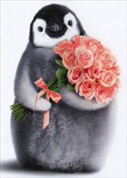 Penguin With Flower Bouquet (1 card/1 envelope) Avanti Birthday Card