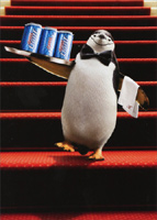 Penguin Waiter Stand Out (1 card/1 envelope) - Birthday Card  INSIDE: Keepin' it classy! Happy Birthday