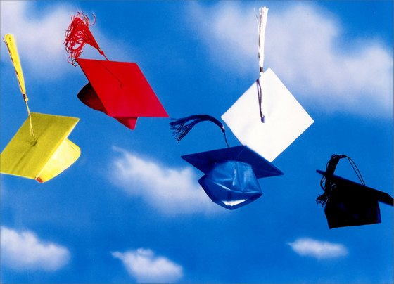 Grad Caps in Air (1 card/1 envelope) Graduation Card - FRONT: No text  INSIDE: The sky's the limit!  Congratulations