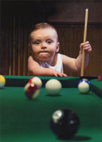 Baby Pool Shark (1 card/1 envelope) - Birthday Card  INSIDE: Rack up another one! Happy Birthday