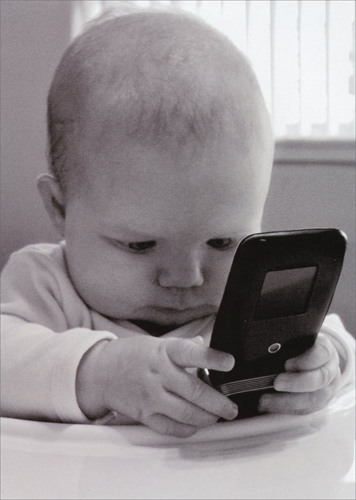 Baby With Cell Phone Funny Birthday Card By Avanti Press