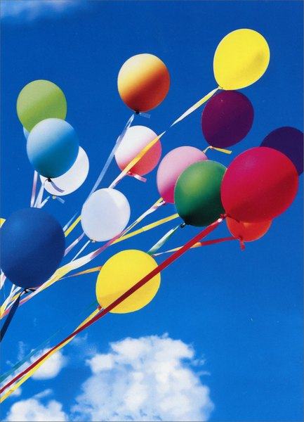 Balloons with Ribbons (1 card/1 envelope) - Congratulations Card - FRONT: No Text  INSIDE: Congratulations!