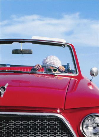 Old Lady Driving Car (1 card/1 envelope) Funny Birthday Card - FRONT: No Text  INSIDE: It's not the years, it's the mileage! Happy Birthday