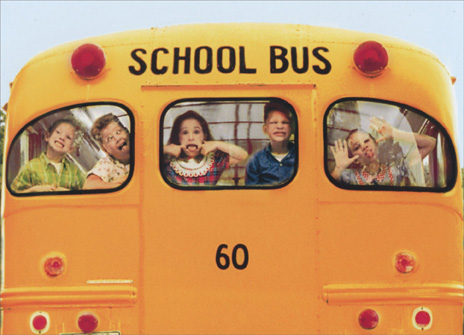 Silly Kids on School Bus (1 card/1 envelope) Funny Birthday Card - FRONT: No text  INSIDE: Youth is fleeting.  Immaturity, however, can last forever!  Happy Birthday