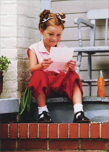 Girl Reading Letter on Porch (1 card/1 envelope) Miss You Card - FRONT: No text  INSIDE: Miles apart but close at heart!
